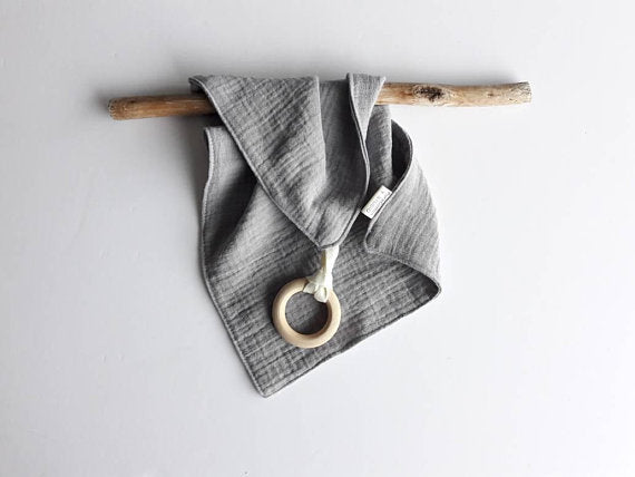 Grey muslin square with baby safe wooden ring by Pure Cotton Studio available from Wonder of Kin