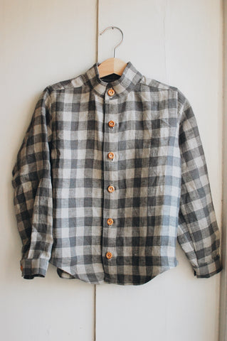 Checked washed linen shirt by The Old Rectory Clothing Co.
