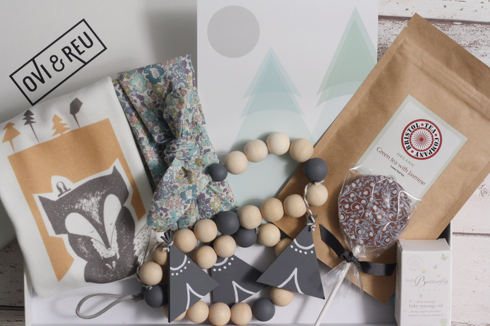The Ovi and Reu Country Collection gift box for new mums and babies. Available from Wonder of Kin - Curating Independent Brands.