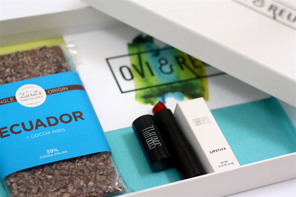 Ovi and Reu gift subscription box for new mums. The Beyond Box includes a lippy and a delectable bar of Ecquador chocolate