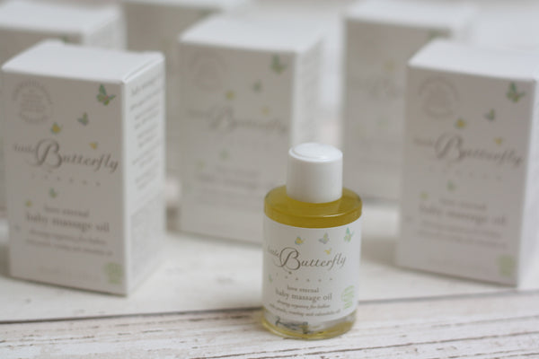 Little Butterfly baby massage oil from The Ovi and Reu Country Collection gift box for new mums and babies. Available from Wonder of Kin - Curating Independent Brands.
