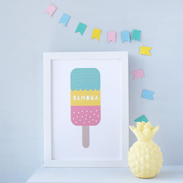 Personalised Ice Lolly art print for a child's room or nursery. The perfect gift for a kid's birthday gift or new baby present. Available at Wonder of Kin - Curating indie brands.