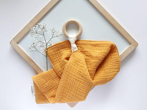 Mustard Muslin with Teething Ring by Pure Cotton Studio