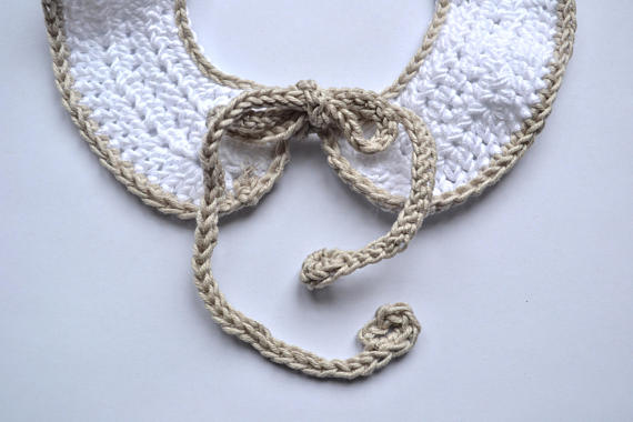Peter Pan crochet removable collar. Available from Wonder of Kin - Curating Independent Brands
