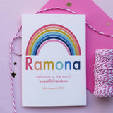Rainbow design new baby card available from Wonder of Kin online store.