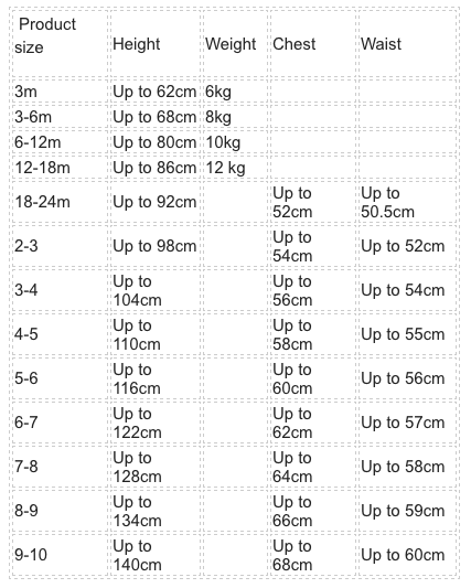 size chart for The Old Rectory Clothing Company available from Ovi and Reu online creative family lifestyle store supporting independent brands in the UK