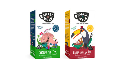 Happy Toucan & Snoozy Fox Herbal Teas for Kids by Small & Wild