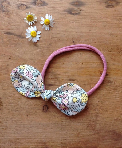 Buttercup Liberty Print Hair Bow on stretchy bands by Runaround Retro