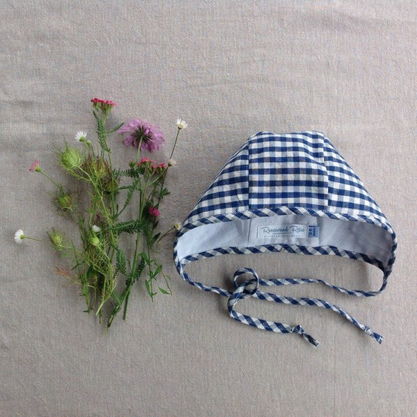 Apple Bobber Baby Bonnet in Blue by Runaround Retro