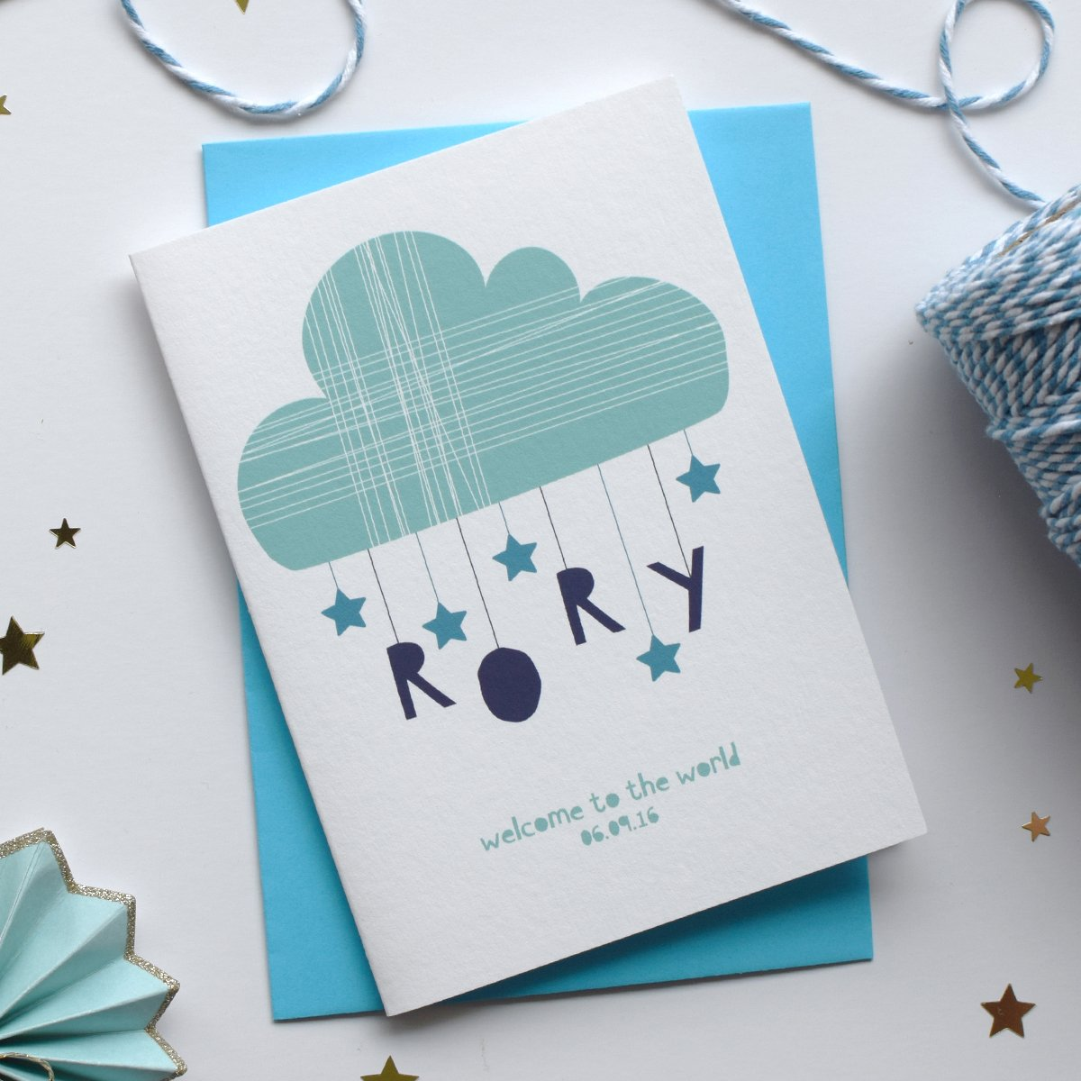 Personalised Clouds & Stars Newborn Card by House of Hooray