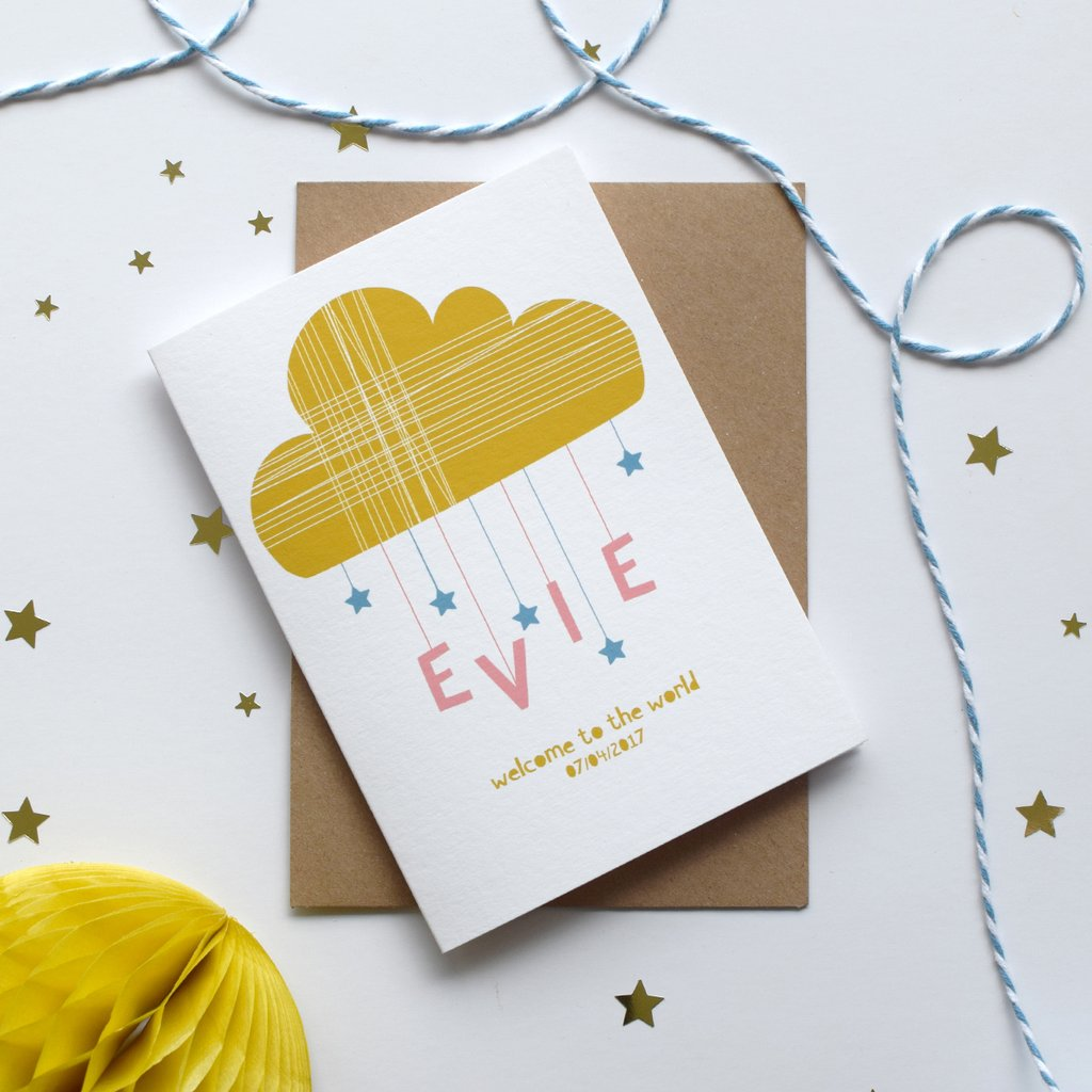 Cloud and stars design personalised new baby card by House of Hooray available at Wonder of Kin online store.
