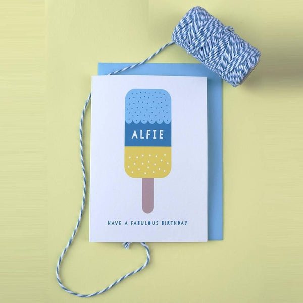 Personalised ice lolly design birthday card by House of Hooray available from Wonder of Kin online store