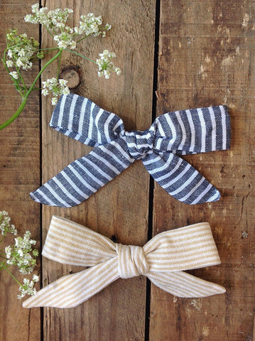 SOLD OUT Jane Linen Striped Hair Bows by Runaround Retro