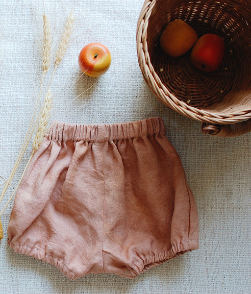Pink hand dyed laundered linen bloomers by The Old Rectory Clothing Company available exclusively at Wonder of Kin - curating indie brands