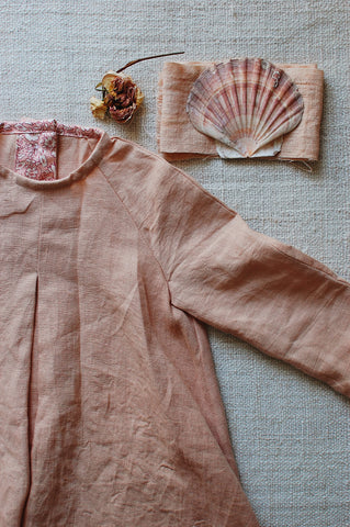Pink hand dyed pleated dress by The Old Rectory Clothing Co.