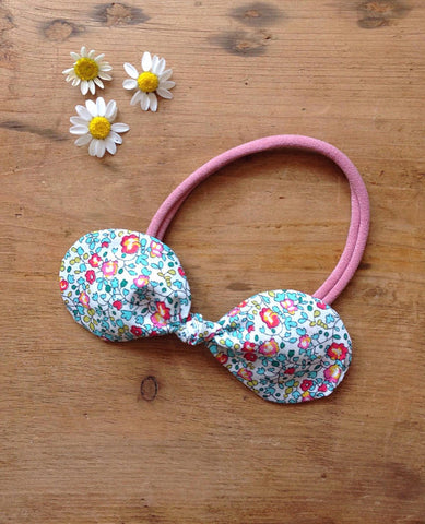 Ditsy Liberty Print Hair Bow on stretchy band by Runaround Retro