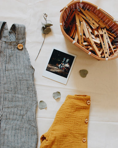 Grey striped laundered linen dungarees by The Old Rectory Clothing Co.