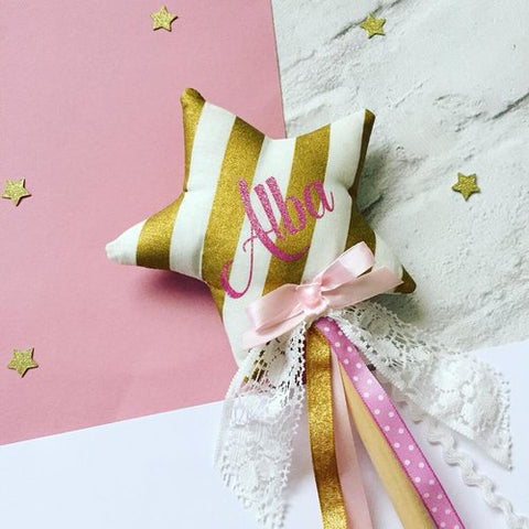 Personalised Gold Striped Wands by Whoopsie Daisie