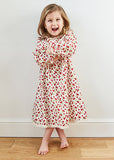 Beautifully handmade to order, long sleeved winter nightie for children by Thimble London available at Wonder of Kin