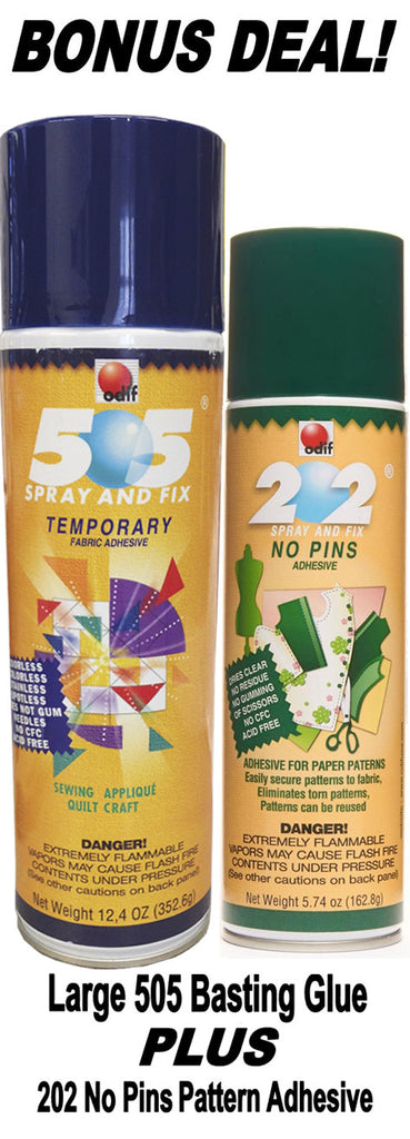 Large 505 Basting Glue and 202 No Pins Adhesive