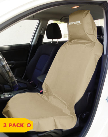 SEAT-SAVER Car Seat Waterproof Cover - Beige 2 Pack
