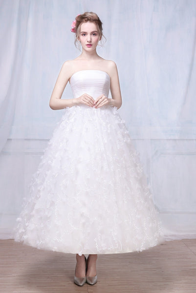 Ballerina Length Strapless Wedding Dress