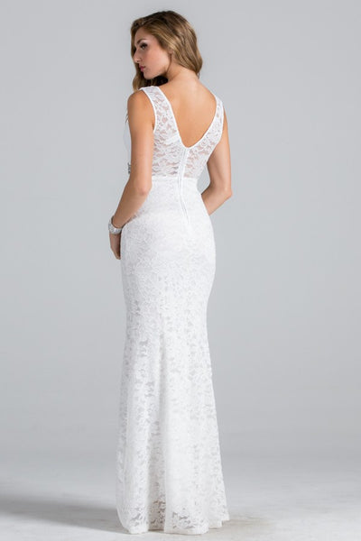 Lace fit and flare wedding dress with beaded empire waist