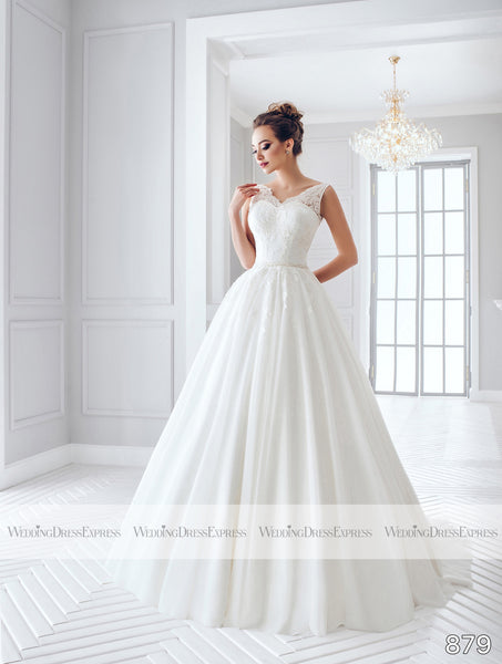 Ballgown Wedding Dress with sheer lace straps