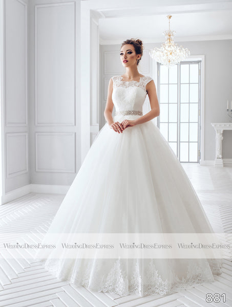 Ballgown Wedding Dress with sheer lace back