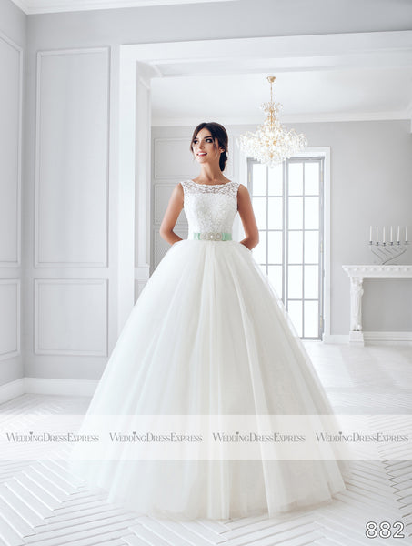 Ballgown Wedding Dress with lace keyhole back