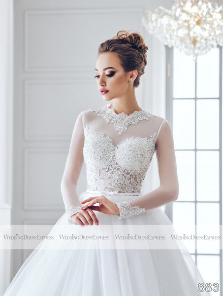 Ballgown Wedding Dress with sheer long sleeves