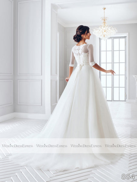 Ballgown Wedding Dress with illusion neckline and lace
