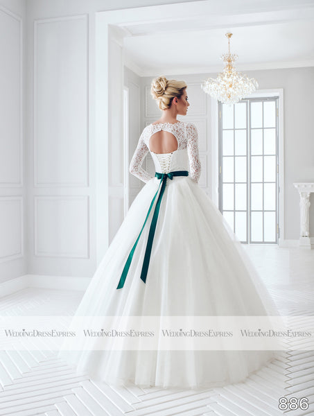 Ballgown Wedding Dress with long lace sleeves