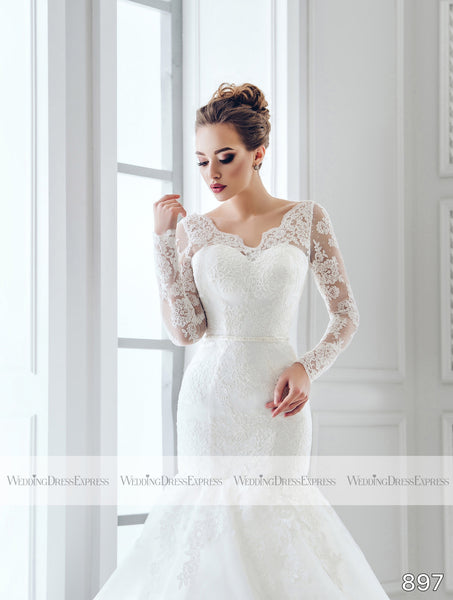 Mermaid Wedding Dress with long lace sleeves