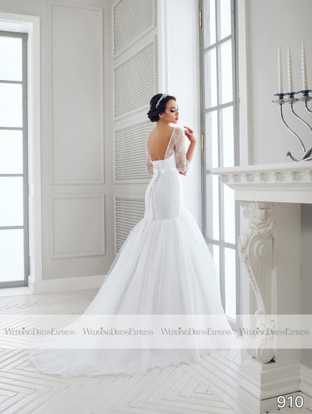 Mermaid Wedding Dress with sheer neckline and sleeves