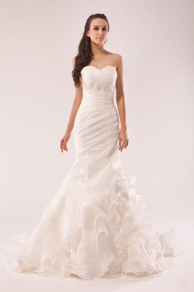 Fit and flare wedding dress with ruffles