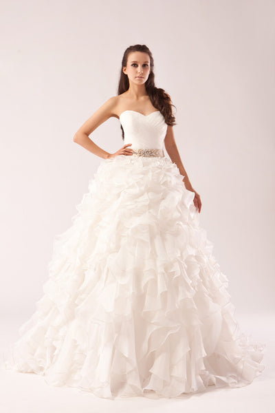 Ball gown wedding dress with ruffled skirt