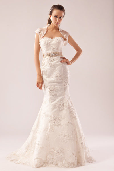 Lace fit and flare wedding dress with bolero