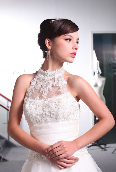 A line Lace and Tulle Wedding Dress with Halter Neckline