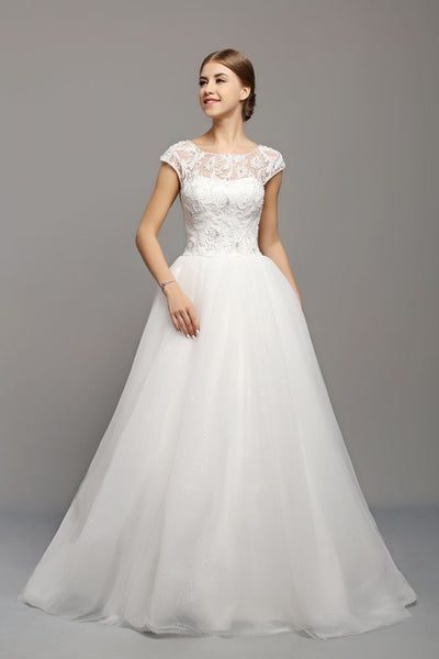 Lace and Tulle Ballgown Wedding Dress with Illusion Neckline