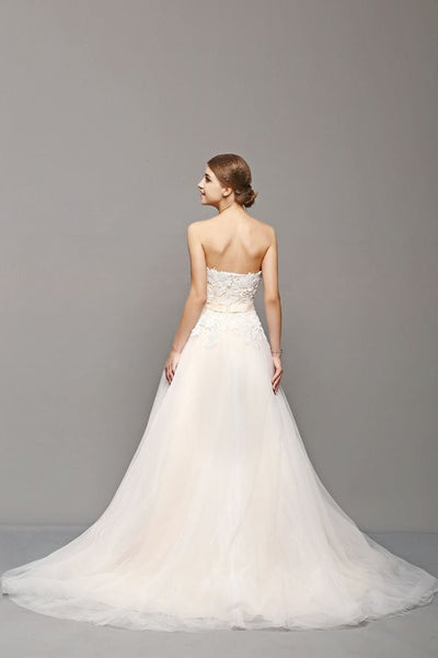 Lace and Tulle A line wedding dress with waist sash