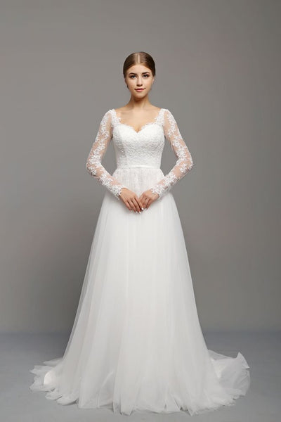 Lace and Tulle Wedding Dress with Long Lace Sleeves