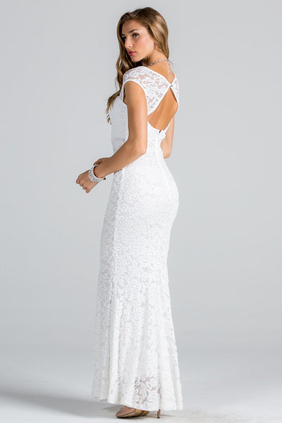 Lace fit and flare wedding dress with keyhole back