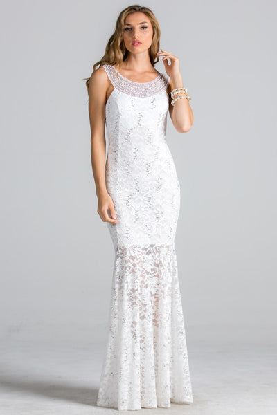 Lace fit and flare wedding dress with beaded neckline