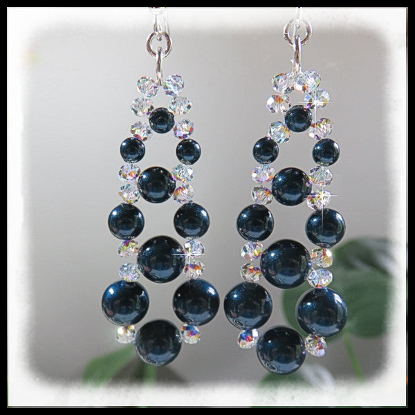 Petrol blue Swarovski pearls woven with Swarovski AB crystals.