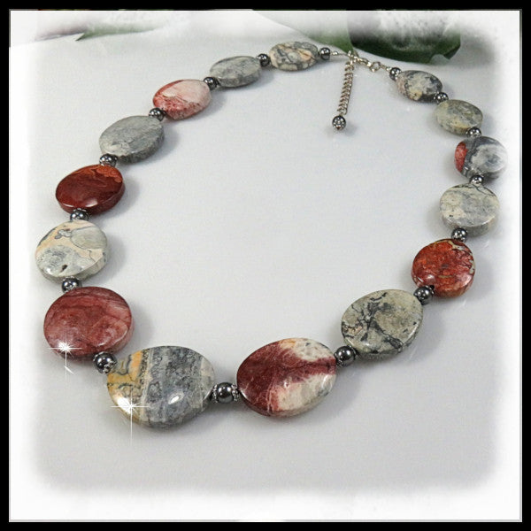 Mexican Sky Eye Jasper beaded necklace with grays, golds, and burgundy.