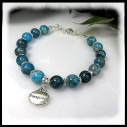 "Blue Crazy Lace Agate 12mm round beads with sterling silver ""Tranquility"" charm"