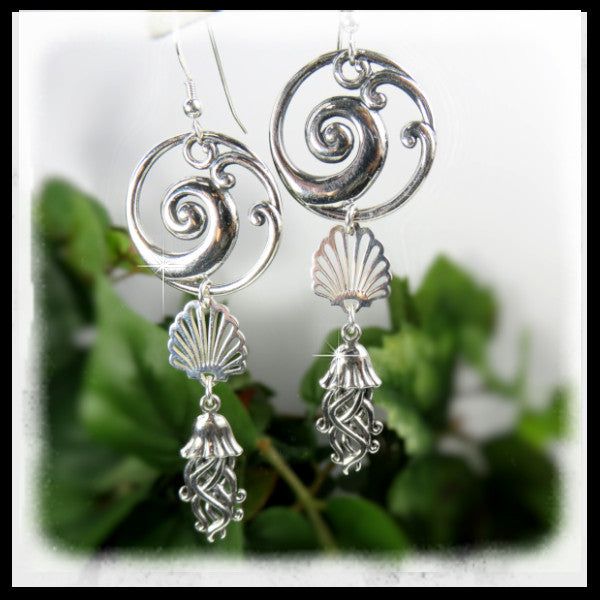 Sterling silver beaded earrings with wave swirl pendant, sea shell and jellyfish.