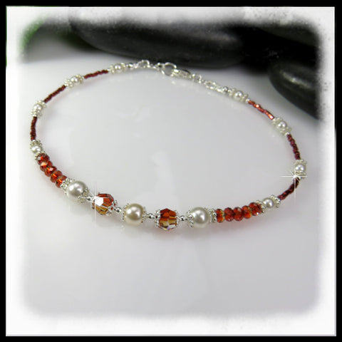 Red Cascade, Anklets, Jewelry By Renee - Jewelry By Renee