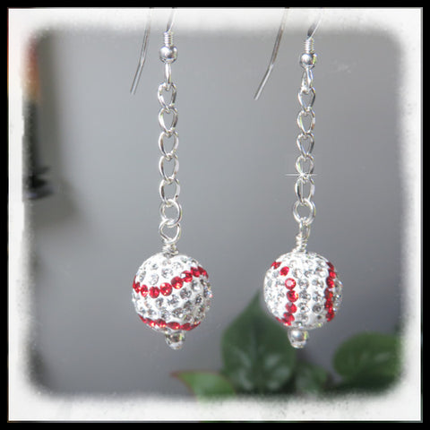 Baseball earrings designed with Pave and Crystals handing from sterling silver chains